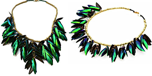 Beetle wing necklaces